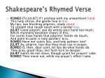 shakespeare s rhymed verse