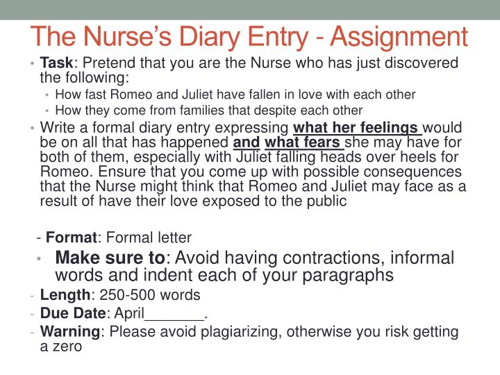 The Nurse's Diary Entry - Assignment