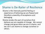 shame is de railer of resilience