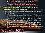 an overview theme of john 13 love humility greatness7