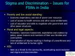 stigma and discrimination issues for fsws in india