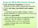 issues in all in one service system