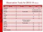 observation tools for 2013 14 cont
