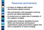 resources and barriers