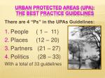 urban protected areas upa the best practice guidelines