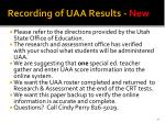 recording of uaa results new