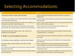 selecting accommodations