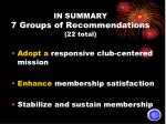 in summary 7 groups of recommendations 22 total