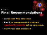 overview final recommendations