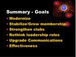 summary goals