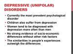 depressive unipolar disorders