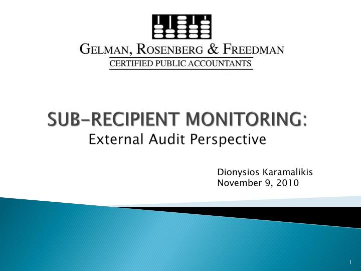 sub recipient monitoring external audit perspective n.
