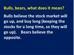 bulls bears what does it mean1