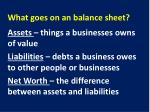 what goes on an balance sheet1