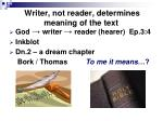writer not reader determines meaning of the text