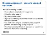 dickeson approach lessons learned by others