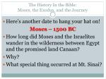 the history in the bible moses the exodus and the journey2