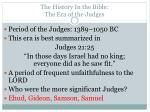 the history in the bible the era of the judges1