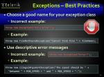 exceptions best practices