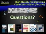 high quality programming code construction for java