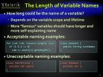 the length of variable names
