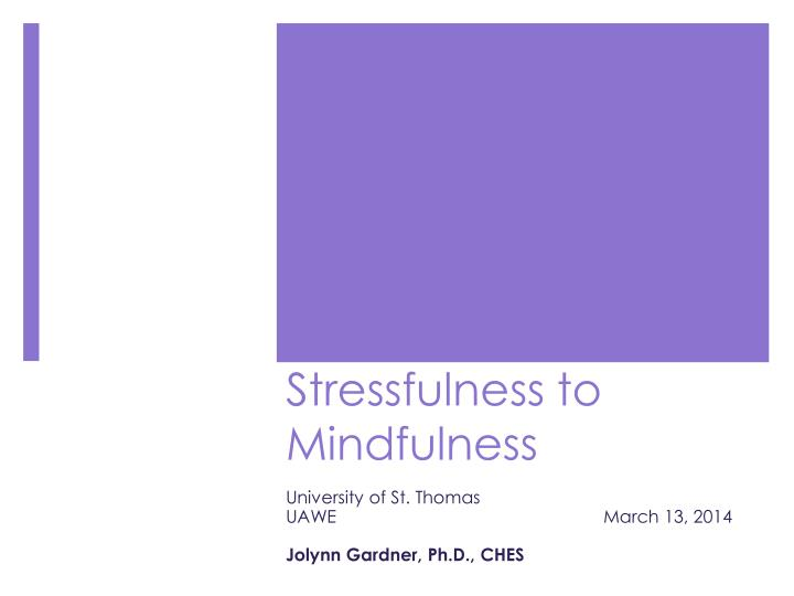 stressfulness to mindfulness n.
