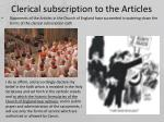 clerical subscription to the articles