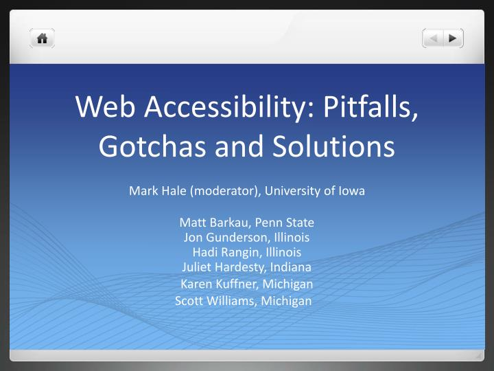 web accessibility pitfalls gotchas and solutions n.