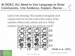 at dok3 ell need to use language to draw conclusions cite evidence explain revise