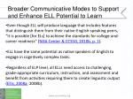 broader communicative modes to support and enhance ell potential to learn