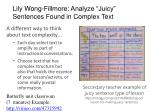 lily wong fillmore analyze juicy sentences found in complex text