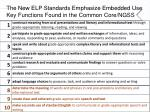 the new elp standards emphasize embedded use key functions found in the common core ngss