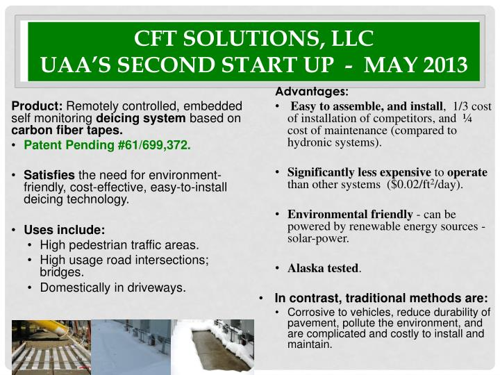 cft solutions llc uaa s second start up may 2013 n.