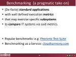 benchmarking a pragmatic take on