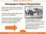 newspapers report desperation