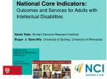 national core indicators outcomes and services for adults with intellectual disabilities