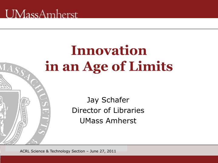 innovation in an age of limits n.