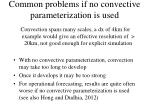 common problems if no convective parameterization is used