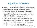 algorithms for ssap v1