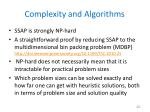 complexity and algorithms