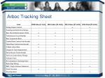 arboc tracking sheet
