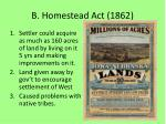 b homestead act 1862