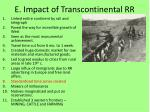 e impact of transcontinental rr