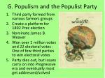 g populism and the populist party
