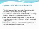 importance of assessment for ibse