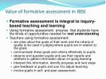 value of formative assessment in ibse