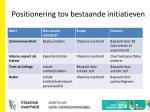 positionering tov bestaande initiatieven