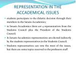 representation in the accademical issues