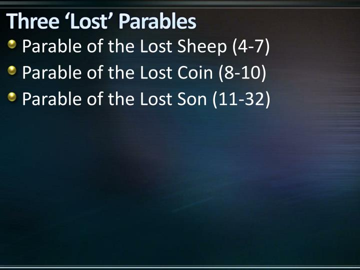 Three 'Lost' Parables