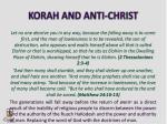 korah and anti christ